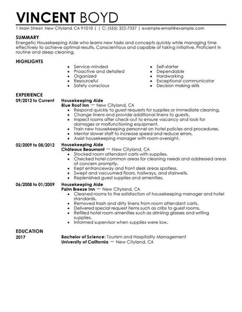 Resume Cover Letter Housekeeping sle resume for housekeeper sle resume for housekeeper we provide as reference to make