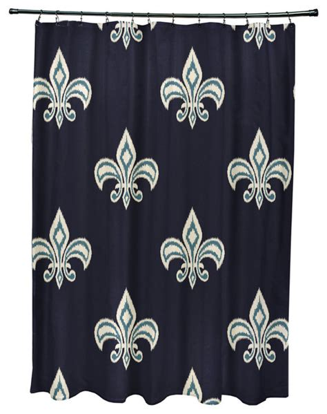 navy blue ikat curtains 71x74 quot fleur de lis ikat print shower curtain navy blue