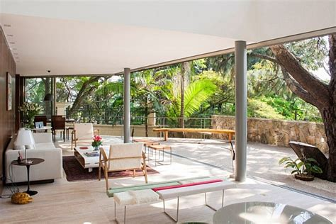 life room outdoor living offset house in brasil brings the outdoors inside in style