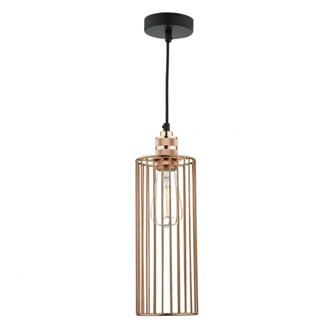 Lighting Ceiling Pendant by Bright Copper Cylinder Cage Ceiling Pendant Light
