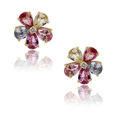 bulgari sapphire and flower stud earrings