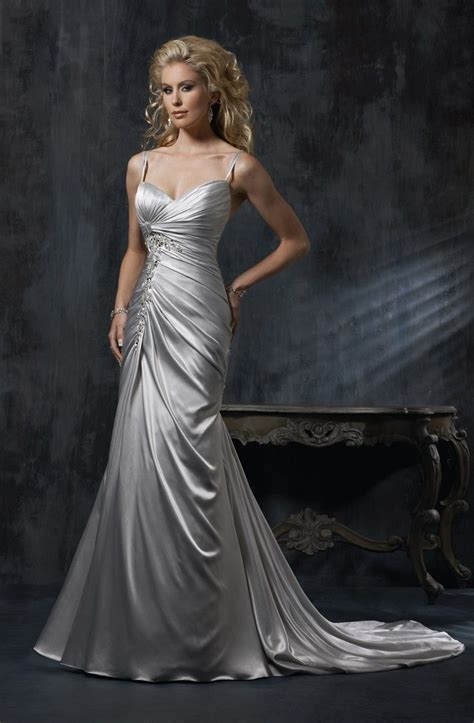 gray wedding dresses   Maggie Sottero Silver Grey Wedding