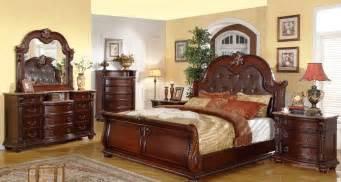 Leather Bedroom Furniture Sets Mcferran Sleigh Leather Bed Set Mcfb9500s Usa Warehouse