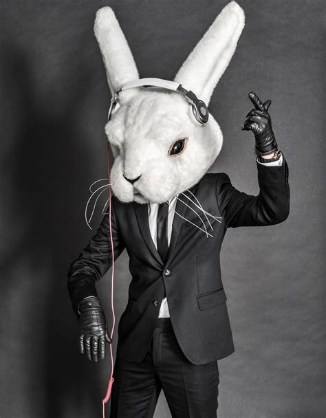Rabbit Earphone With dj inside white rabbit mask and headphones