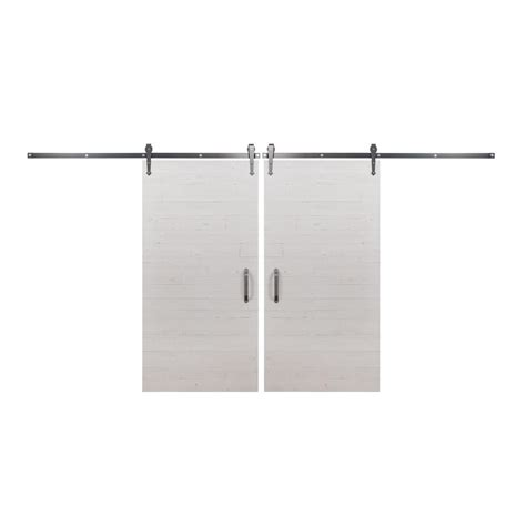 Bi Parting Barn Door Hardware Rustica Hardware Bi Parting 42 In X 84 In Rustica Reclaimed White Wash Barn Doors With Brushed