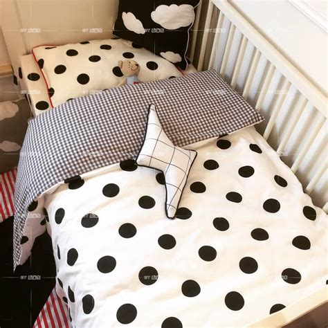 Black And White Baby Bedding Sets 3pcs Set Black White Polka Dot Baby Bedding Set Baby Crib Style Sweet Fox Plaid Duck