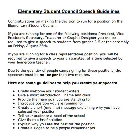 Recommendation Letter For Student Running For Student Council Sle Student Council Speech Exles 8 Free Documents In Pdf