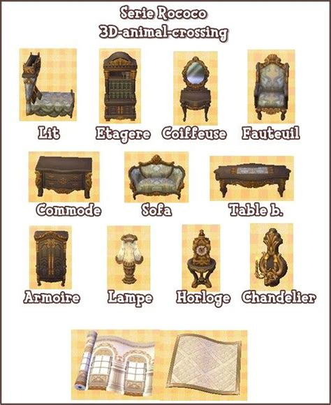 Acnl Furniture Sets by Serie Rococo Acnl Animal Crossing Leaves And Rococo