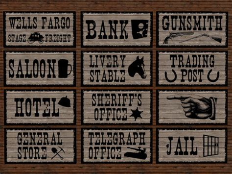 Western Cowboy Home Decor Second Life Marketplace Re Old West Signs Bundle 12