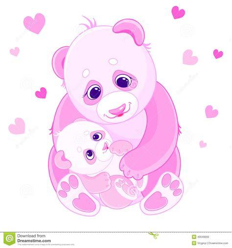 Panda Pink and baby bears stock vector image 40049565