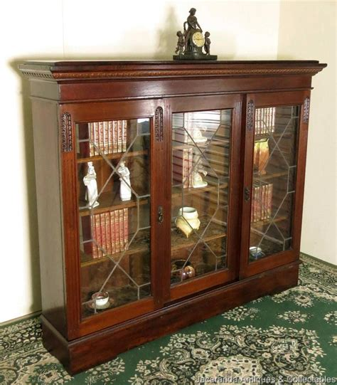 Antique Walnut Bookcase Sliding Glass Doors Display Antique Cabinets With Glass Doors