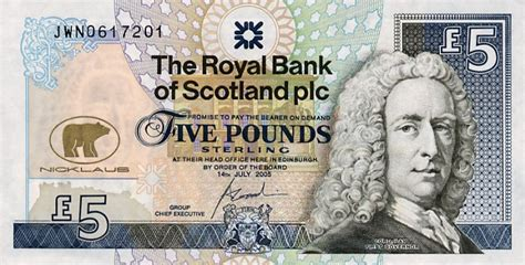 Letter Of Credit Royal Bank Of Scotland Scotland S 5 Pound Note Royal Bank Of Scotland
