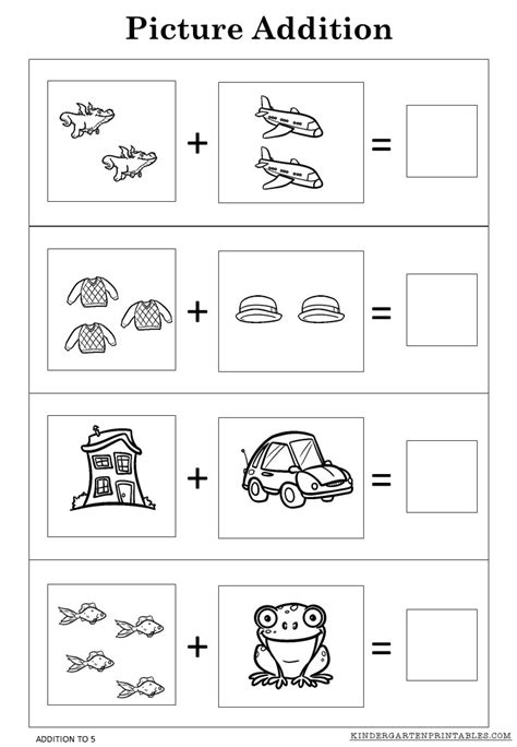 for printables free picture addition worksheets to 5 printables