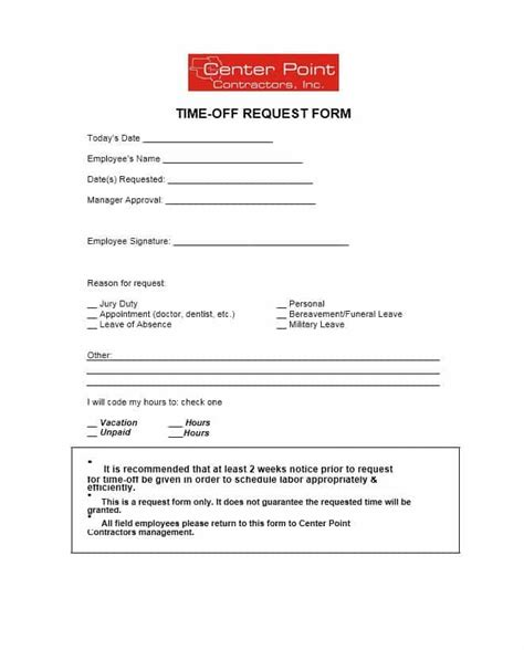 40 Effective Time Off Request Forms Templates Template Lab Time Request Form Template
