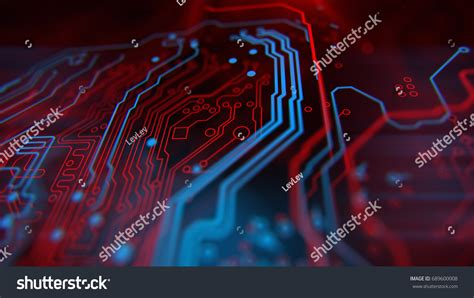 integrated circuit card technology blue background digital integrated network stock illustration 689600008