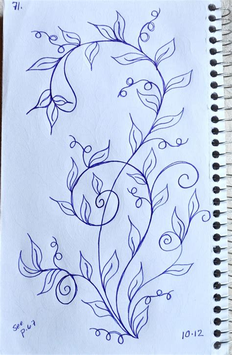 draw doodle design book leaves and vines on drawings of flowers