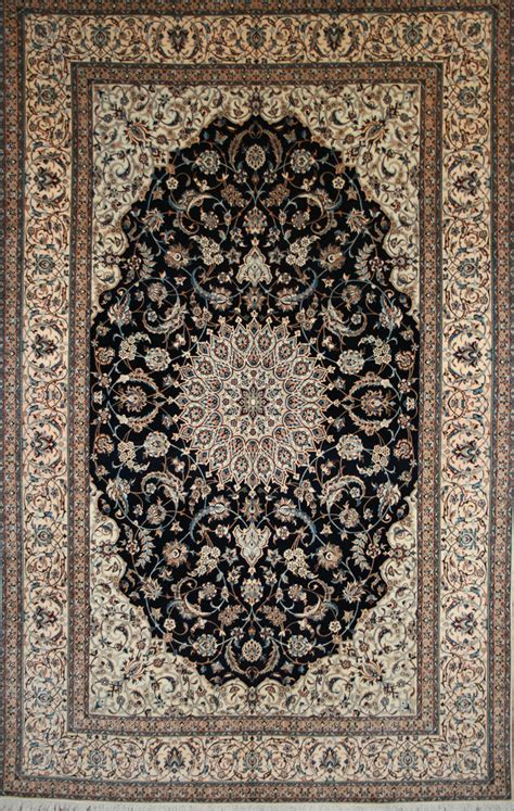 Large Persian Hand Knotted Nain Rug In Wool Silk Ref Nain Rugs