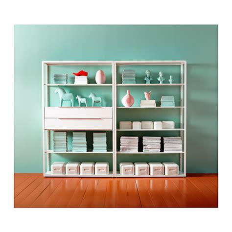 fj 196 lkinge shelving unit white 118x193 cm drawers