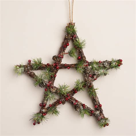 berry and pinecone star wall decor world market