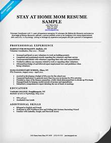 resume template stay at home stay at home sle resume resume cv cover letter