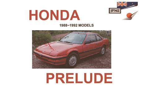 car repair manuals online pdf 1992 honda prelude regenerative braking honda prelude car owners manual 1987 1992 model ba4