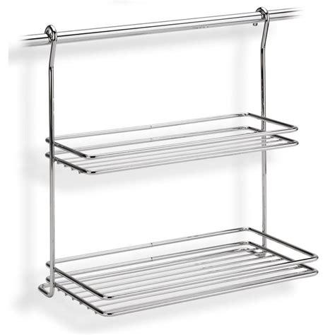 porta mensole in acciaio mensola due piani applicabile alla barra da cucina