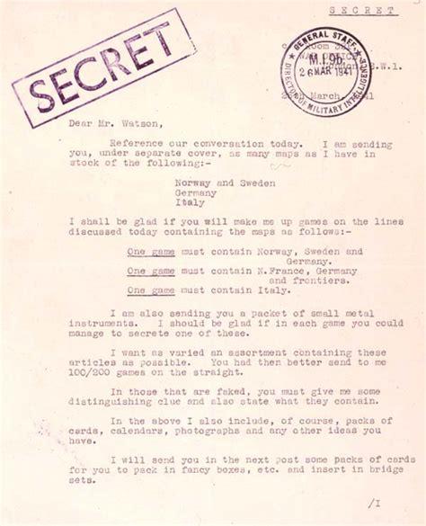 secret letter 26th march 1941 secret maps for p o w s