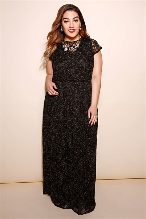 Maxi Lace Flower black gold maxi dress with floral lace overlay plus size
