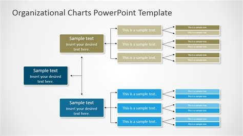 Horizontal Orgchart Powerpoint Diagram Slidemodel Organizational Chart Powerpoint Template