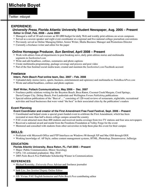 Journalist Resume Exles by College Journalist S Resume Broadcast Journalism Exles