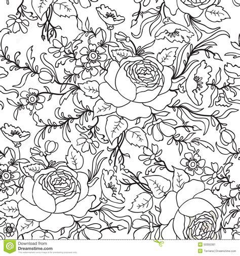 seamless pattern sketch floral seamless pattern flower outline sketch background