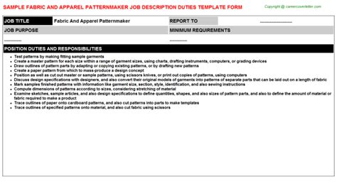 pattern maker description fabric and apparel patternmaker job description job