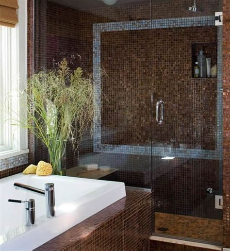 Chocolate brown blue bathroom decoist