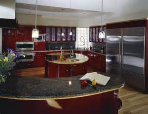 Circular Kitchen Island kitchen flush with bold red cabinetry an innovative circular island