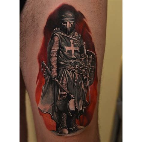 crusader knight tattoo on thigh best tattoo ideas gallery