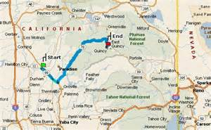 quincy california map map directions from chico to the pine hill motel in