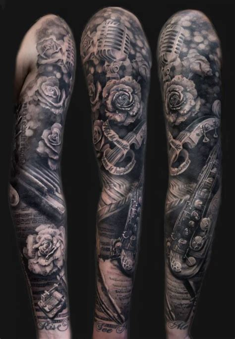 musical half sleeve tattoo designs 25 best ideas about sleeve tattoos on