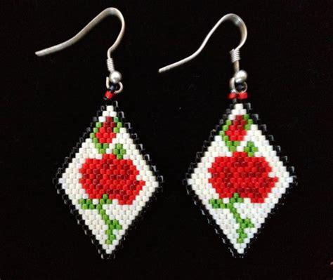 delica beaded earrings items similar to american beaded earrings roses
