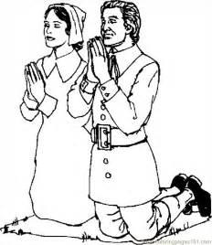 pilgrims praying 2 coloring page free thanksgiving day