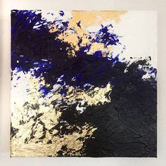 Kemeja Navy Abstract Black Leaf abstract original painting 9x12 color block navy gold