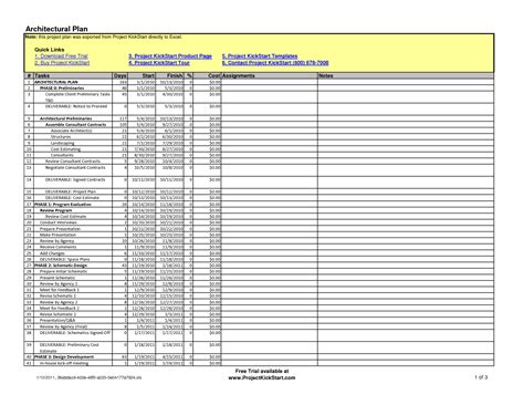 architectural and construction project plan and schedule