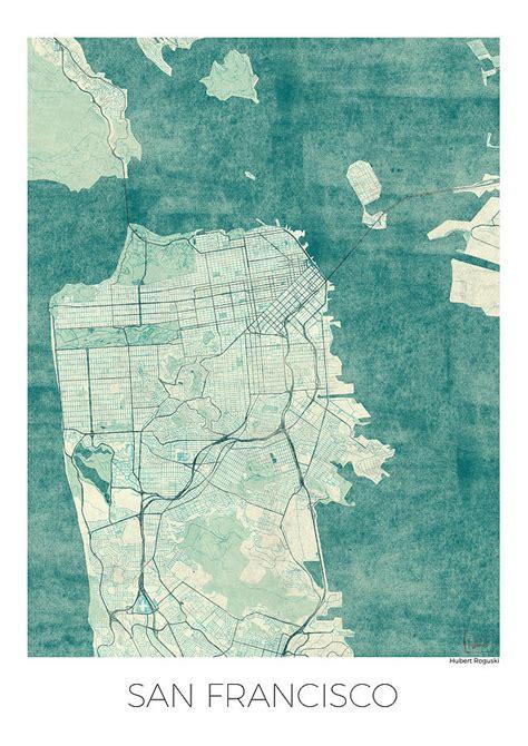 san francisco map vintage san francisco map blue vintage digital by hubert roguski