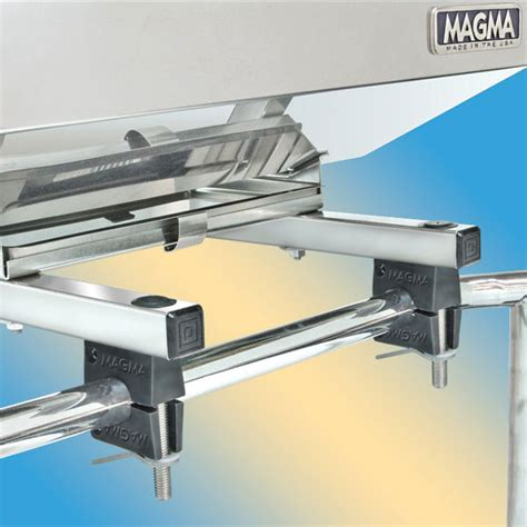 pontoon boat grill rail mount magma dual extended horizontal round rail mounts for magma