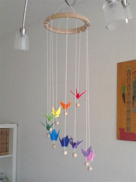 How To Make A Paper Mobile - rainbow origami crane mobile by sakuralu83 on deviantart