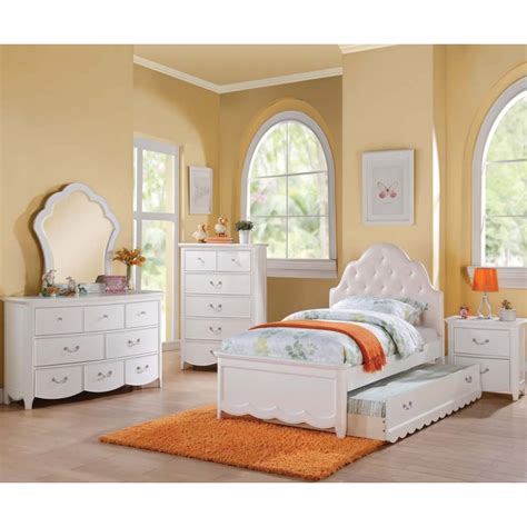 Kid Trundle Bed Set 30300t Cecilie 5pcs Pink White Trundle Bedroom Set Furniture