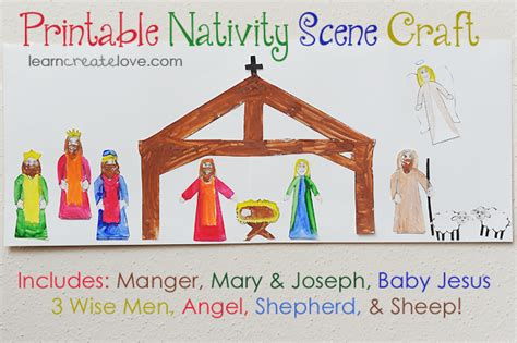printable paper nativity scene learncreatelove printable crafts and craft ideas for kids