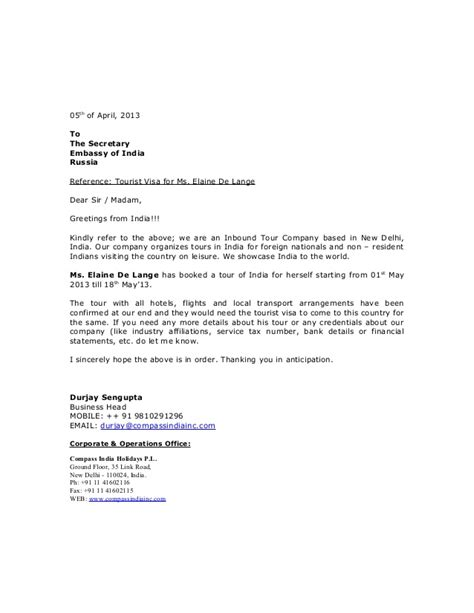 Letter To Embassy For Applying Tourist Visa visa application letter