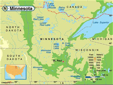 physical map of minnesota minnesota physical map by maps from maps world