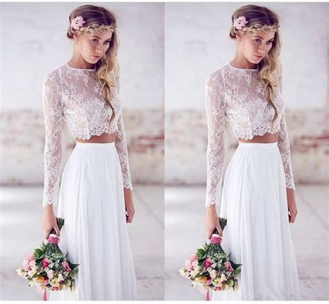 elegant two pieces 2016 wedding dresses long sleeve