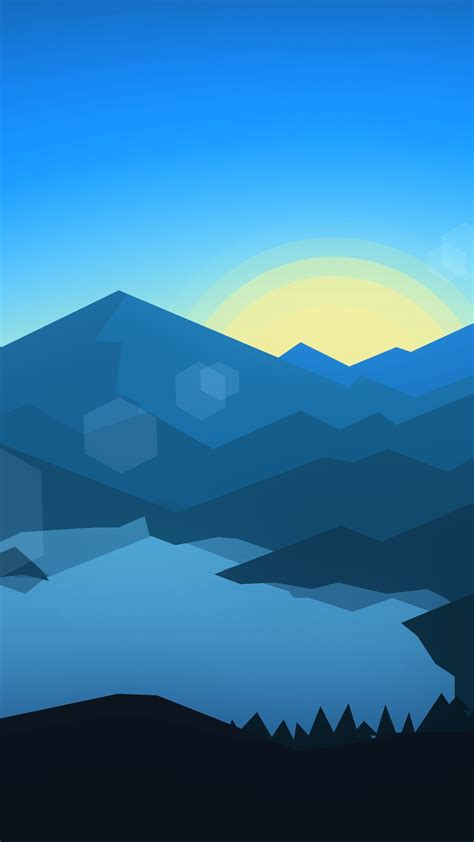 forest mountains sunset cool weather minimalism yn